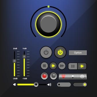 Interface voor muziekspeler of interface voor audiospeler met navigatiekanaal.