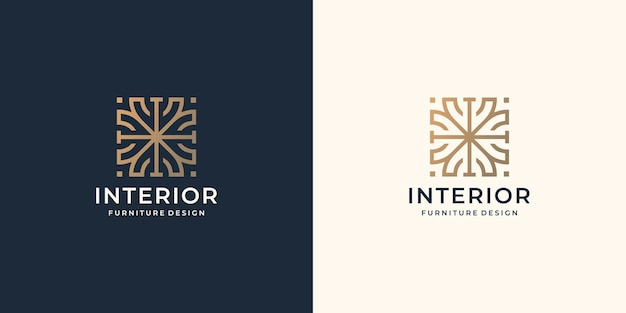 Interieur abstracte logo in vierkante concept met minimalistische lijn kunst stijl ontwerpsjabloon.