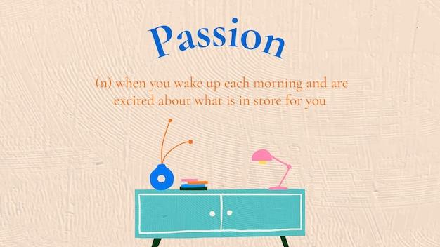 Interieur banner sjabloon vector met passie tekst in de hand getekende stijl