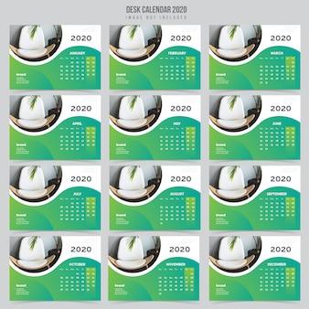 Interieur bureau kalender 2020 sjabloon