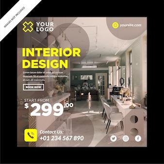 Interieur design banner voor social media post