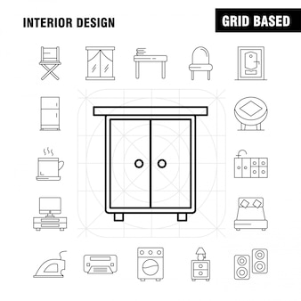 Interieur design lijn icons set