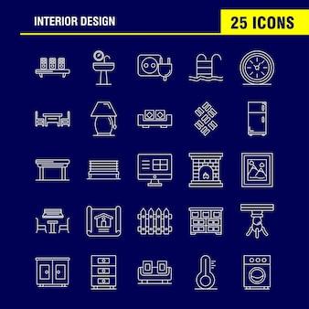 Interieur design lijn pictogram