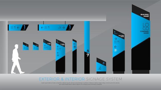 Interieur en verkeersbordensysteem bedrijfsidentiteit