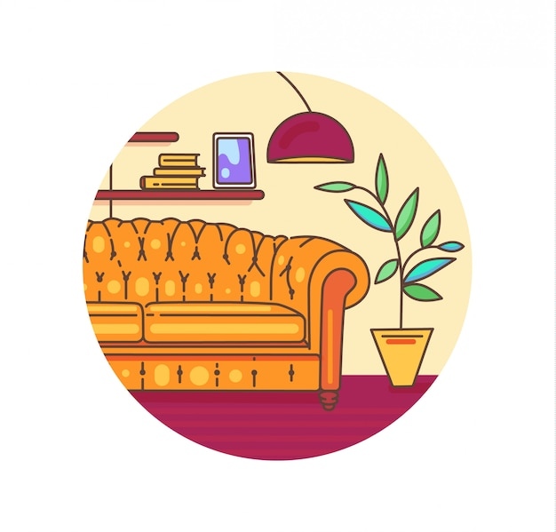 Interieur illustratie met meubilair