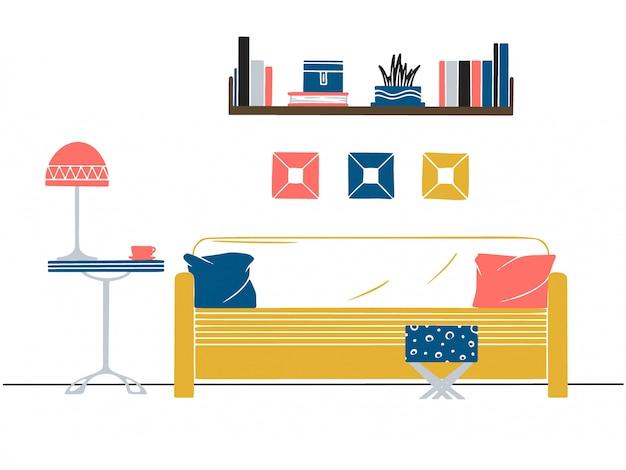 Interieur in scandinavische stijl. een deel van de kamer. hand getrokken vectorillustratie van een schetsstijl