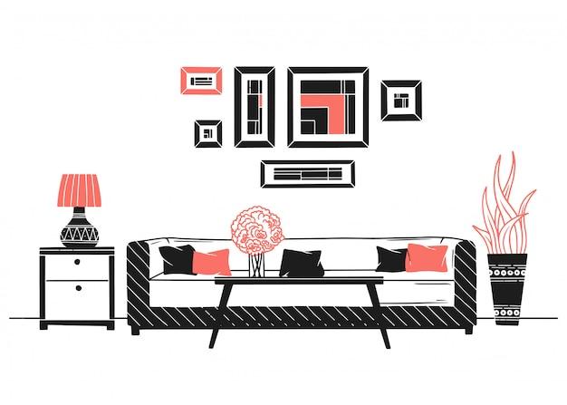 Interieur in scandinavische stijl. een deel van de kamer. hand getrokken vectorillustratie