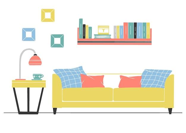 Interieur in scandinavische stijl. een deel van de woonkamer. hand getekende illustratie van een schetsstijl.