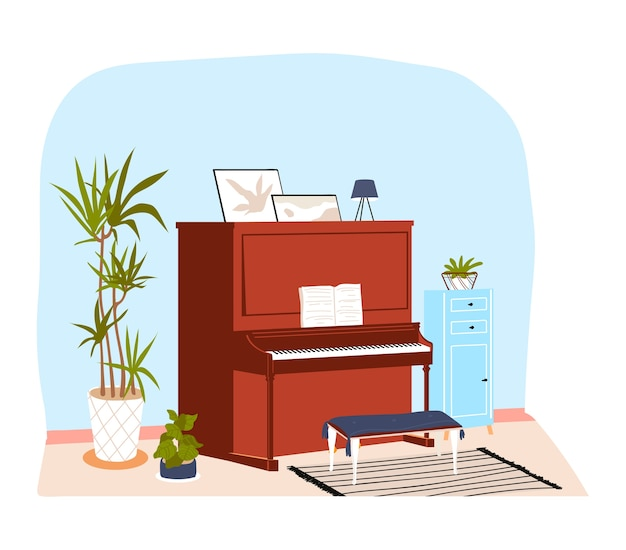 Interieur kamer huis, piano in klassieke vintage stijl, hoogwaardig muzikaal meubilair in appartement, cartoon afbeelding. geïsoleerd op wit, appartement eenvoudig ingericht en mooi ingericht
