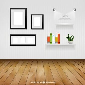 Interieur kamer met een muur frames en planken