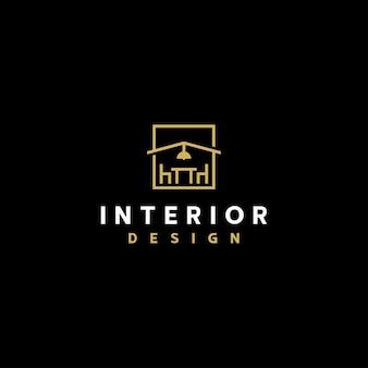 Interieur logo lijntekeningen ontwerpsjabloon