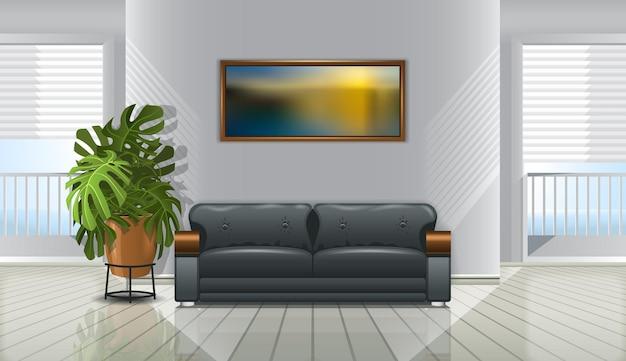Interieur met bank en foto aan de muur