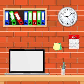 Interieur met designerdesktop