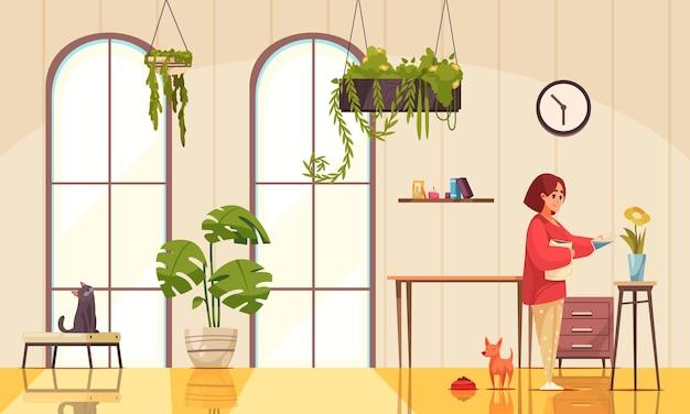 Interieur met huisplanten en vrouw die bloemen water geeft in een vaas vlakke afbeelding
