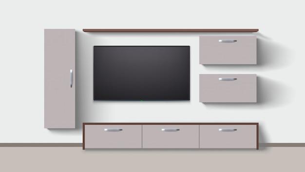Interieur met tv op de muur