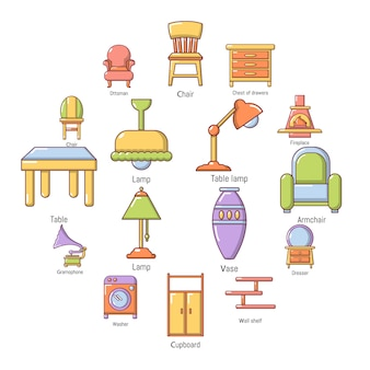 Interieur meubels icon set, cartoon stijl