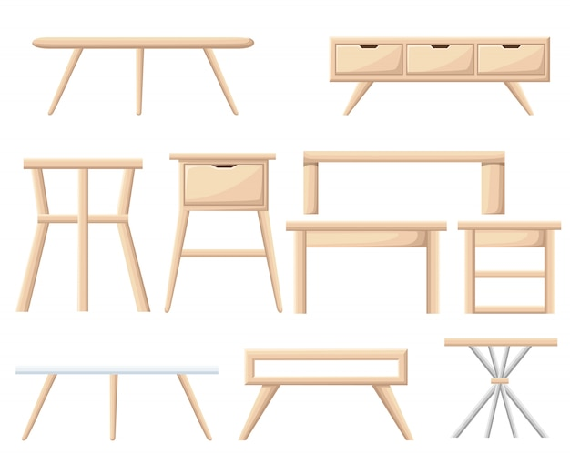Interieur meubelset. slaapkamermeubilair: nachtkastje, nachtkastje, mand, kast, stoel, doos. kantoor en huis cartoon-object op wit. illustratie