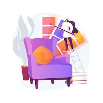 Interieur ontwerp abstract concept vectorillustratie. huisdecoratie service, architectuur en bouw, modern klassiek appartement. ontwerpstudio-portfolio, decorideeën en tips abstracte metafoor.