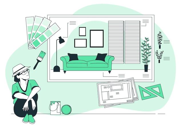 Interieur ontwerp concept illustratie