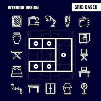 Interieur ontwerp lijn pictogrammen