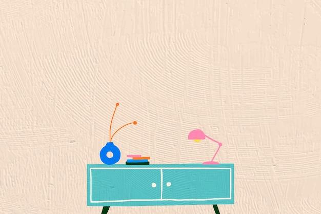 Interieur platte grafische achtergrond in kleurrijk handgetekend ontwerp Gratis Vector