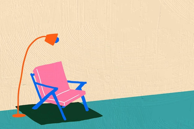 Interieur platte grafische achtergrond in kleurrijk handgetekend ontwerp