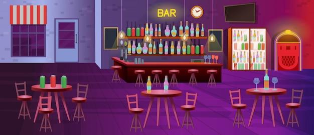 Interieur van bar met lampen, tafels met stoelen, planken met alcoholflessen, tv, koelkasten en jukebox. vector cartoon illustratie