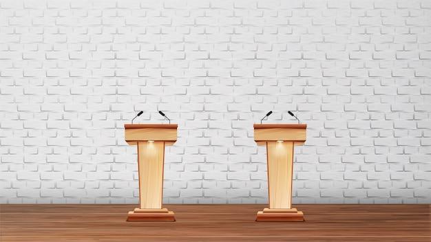 Interieur van conferentieruimte voor debatten