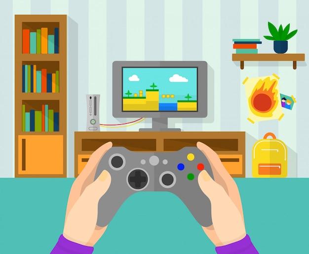 Interieur van de gamerruimte. illustratie van spelcontrolemechanisme in handen.