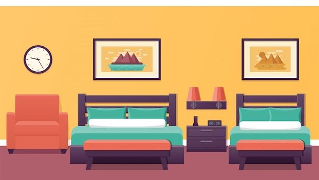 Interieur van de hotelkamer in. illustratie.