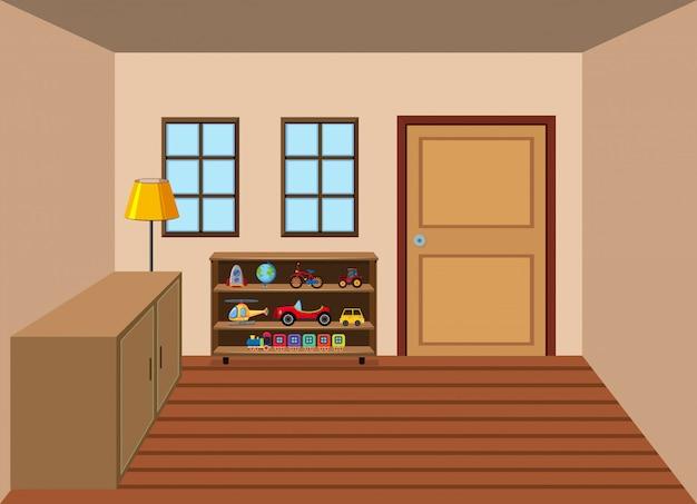 Interieur van de kamer in het huis