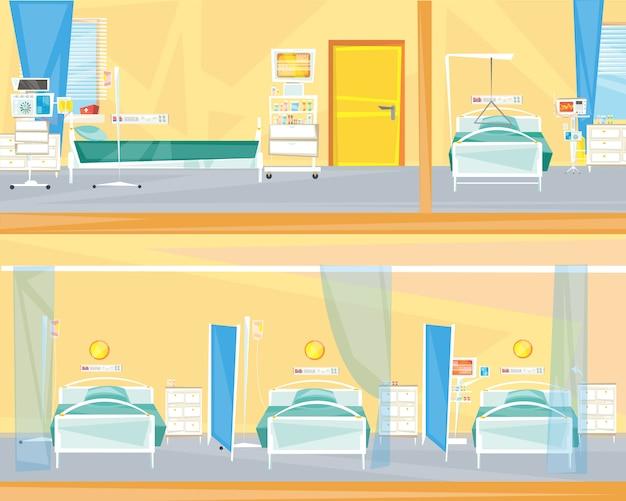 Interieur van de kamers in het ziekenhuis.