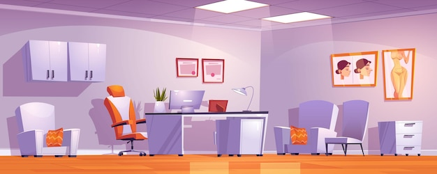 Interieur van de kliniek voor plastische chirurgie met dokterspullen en meubels