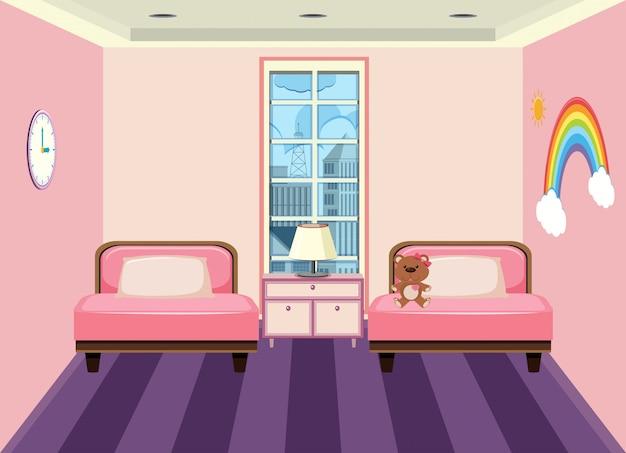 Interieur van de slaapkamer van een kind