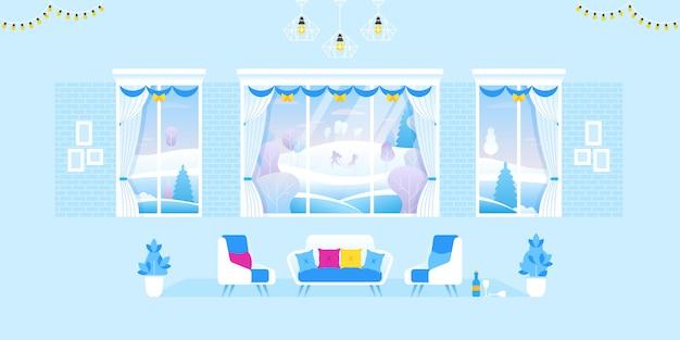 Interieur van de woonkamer ingericht voor kerstmis en nieuwjaar