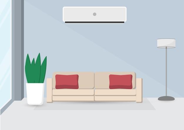 Interieur van de woonkamer met meubilair
