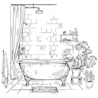 Interieur van een badkamer, vector schets