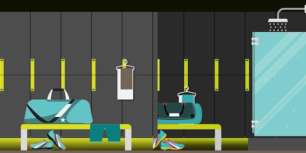 Interieur van een fitnessruimte kleedkamer.