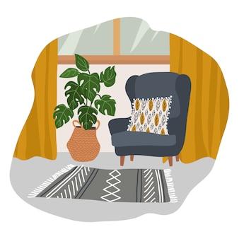 Interieur van een gezellige kamer in scandinavische stijl met een zachte grijze fauteuil met een decoratief kussen, gele gordijnen, een gebreid tapijt en een grote bloempot in een rieten mand.