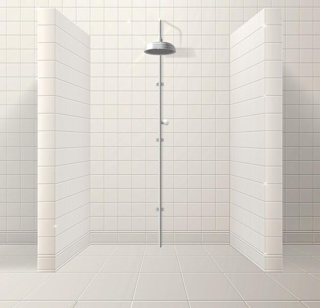 Interieur van een realistische douchecabine gemaakt van keramische tegels
