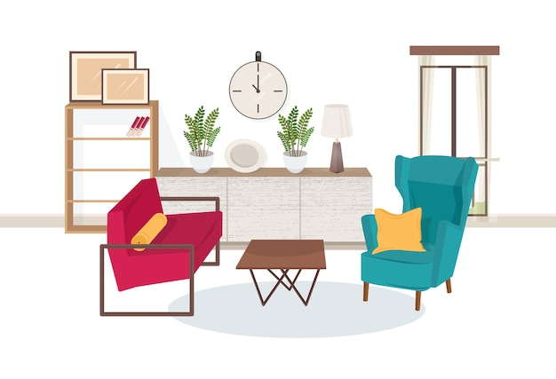 Interieur van een woonkamer vol met modern meubilair - comfortabele fauteuils, salontafel, planken met boeken, kamerplanten, lamp, muurfoto's