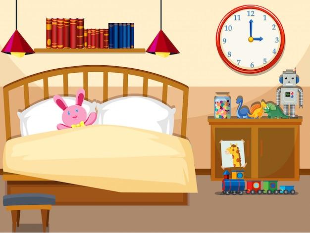 Interieur van eenvoudige slaapkamer