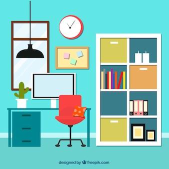 Interieur van het kantoor met bibliotheek
