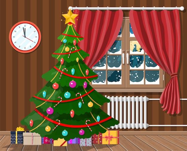 Interieur van kamer met kerstboom en geschenken. gelukkig nieuwjaar decoratie. vrolijk kerstfeest. nieuwjaar en kerstmisviering. illustratie vlakke stijl Premium Vector
