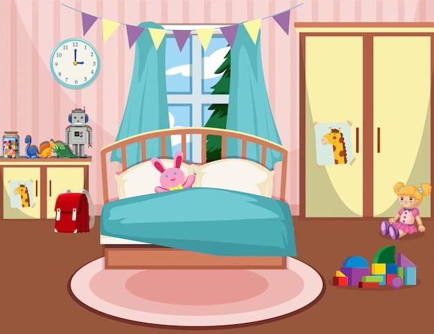 Interieur van meisjes slaapkamer