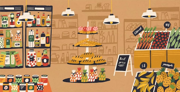 Interieur van moderne supermarkt met producten die op planken liggen en prijskaartjes. assortiment van voedsel bij supermarkt