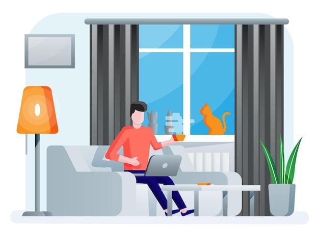 Interieur van moderne woonkamer. man aan het werk op laptop. bank, plant, bureau, lamp. kat zittend op raam met gordijnen. woondecoratie in minimalistisch design. vlakke stijl vector