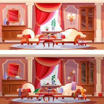 Interieur van mooie luxe, vuile en schone kamer met meubels,