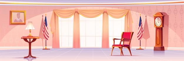 Interieur van ovaal kantoor in witte huis