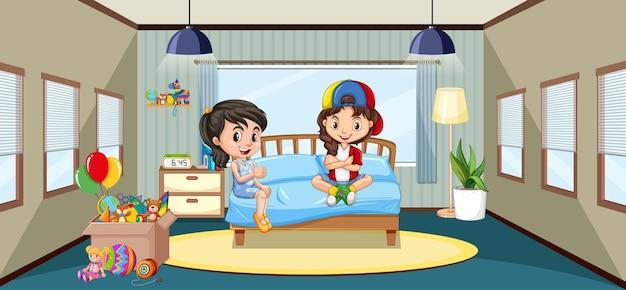 Interieur van slaapkamer met stripfiguur voor kinderen